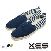 男鞋 XES 夏日休閒鞋 草編鞋 平底懶人鞋 樂福鞋 時尚休閒鞋_海軍藍