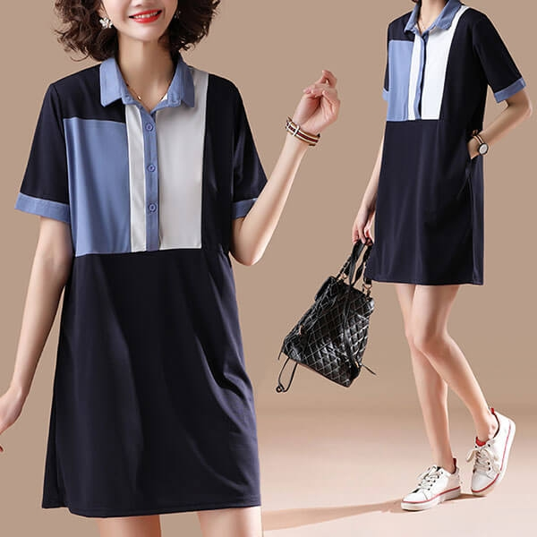 色塊開襟顯瘦洋裝-大尺碼 獨具衣格 J3663