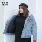 Miss38-(現貨)【A10512】大尺碼連帽外套 加厚鋪棉牛仔外套 開扣帽可拆 保暖百搭時尚- 中大尺碼女裝