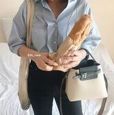 店長推薦★2018新款女包撞色水桶包單肩包斜挎包手提包~
