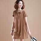 大碼洋裝 大碼女裝洋裝女夏季新款短袖中長款棉麻洋裝寬松遮肚子裙