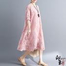 兩件套漢服原創大尺碼女寬鬆五分袖蕾絲兩件...