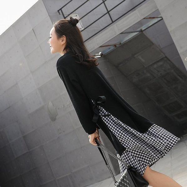 漂亮小媽咪 格紋洋裝 【D5819】 假二件 孕婦裝 長袖 長洋裝 格子紋 假兩件 魚尾裙