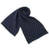 FENDI 經典滿版雙F LOGO織紋羊毛圍巾(黑色/深藍)084125-1