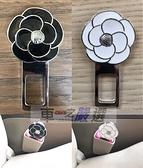 車之嚴選 cars_go 汽車用品【HD-832】山茶花造型 雙面圖案 安全帶消音扣 插銷 -兩種顏色選擇