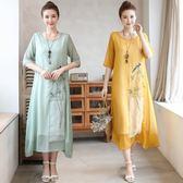 洋裝 連身裙 夏季新款民族風中國風刺繡連衣裙女復古名媛氣質繡花中長款裙子