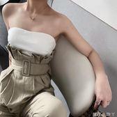 抹胸連身褲性感拼接設計裹胸連衣褲女2019夏新品時髦顯瘦束腰帶高腰連身褲 蘿莉小腳丫