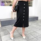 中大尺碼  夏季黑色排釦A字長裙 - 適XL~4L《 68127 》CC-GIRL