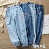 女童牛仔燈籠長褲夏季薄款兒童裝寬鬆百搭【奇趣小屋】
