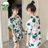 日式和服睡衣女夏純棉短袖韓版清新學生薄款家居服兩件套裝可外穿