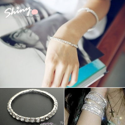【50A32】shiny藍格子-夏日星空.閃閃銀色單排水鑽彈力手環