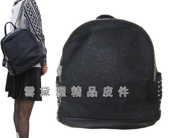 ~雪黛屋~COUNT 後背包中型容量進口防水尼龍布+皮革材質二層主袋BCD50002101200