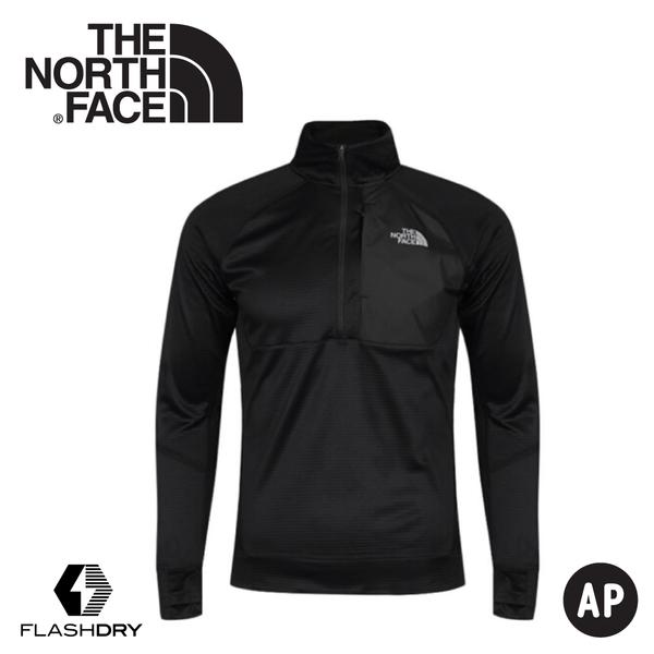 【The North Face 男 FlashDry刷毛保暖半門襟長袖上衣《黑》】46GW/休閒長袖/運動長袖