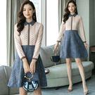 VK精品服飾 韓國風名媛修身娃娃領蕾絲長袖洋裝