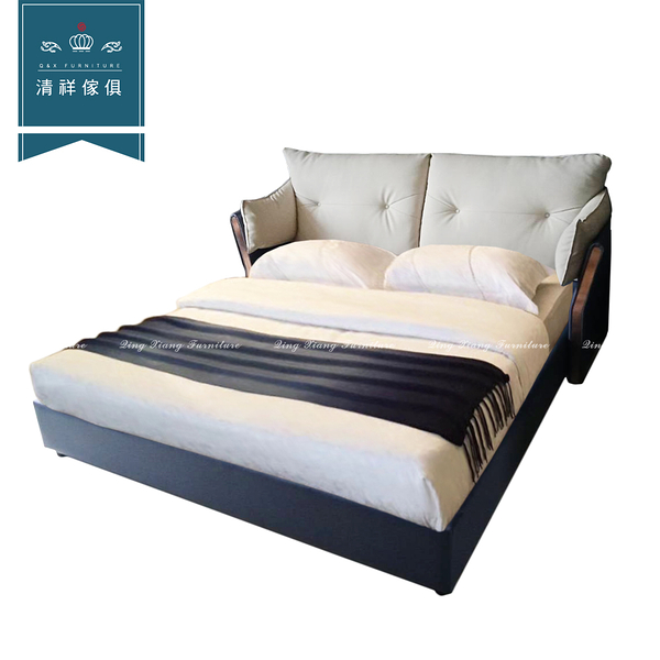 【新竹清祥傢俱】PBB-11BB04-現代舒適牛皮床台 設計 簡約 可改色 六尺 飯店 民宿 皮床 雙人加大