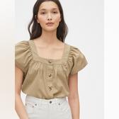 Gap女裝簡約純色方領休閒上衣539355-卡其色