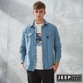 【JEEP】純棉百搭襯衫式外套 (藍)