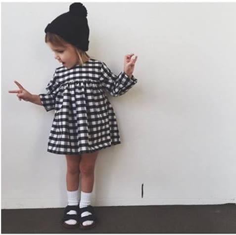 黑白格子娃娃裝 連身洋裝  橘魔法Baby magic 現貨 兒童 童裝 女童