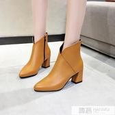 2020春秋冬季新款粗跟中跟馬丁靴女高跟鞋女鞋短靴女及裸靴子踝靴 韓慕精品