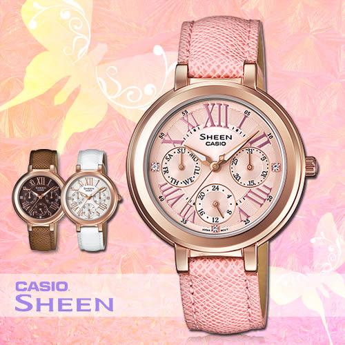CASIO手錶專賣店 卡西歐 SHEEN SHE-3034GL-4A 女錶 三眼 不鏽鋼錶殼 羅馬數字 施華洛世奇 真皮錶帶