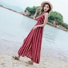 洋裝沙灘裙女夏2018新款海邊度假長裙沙...