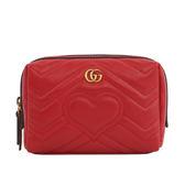 【GUCCI】GG LOGO Marmont化妝包/萬用包(莓紅色)476165 DRW2T 6433