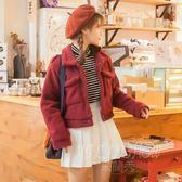 韓版甜美小清新短款長袖外套學生寬松毛呢外套 米蘭shoe