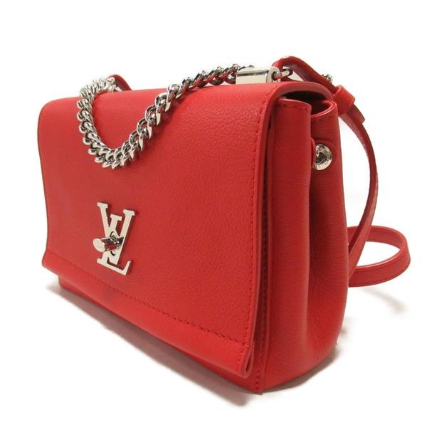 LOUIS VUITTON LV 路易威登 紅色牛皮logo銀釦手提肩背兩用包 LockMe BB M51202