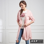 【JEEP】女裝 造型圖騰刺繡長版針織外套 (粉)