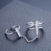 戒指 925純銀 鑲鑽-雙戒設計生日情人節禮物女飾品73dx40【時尚巴黎】