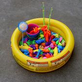 兒童釣魚玩具池套裝寶寶磁性廣場擺攤小孩充氣水池戲水釣魚池家用 快速出貨全館免運