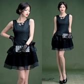 菱形壓花修身層次蛋糕連衣身裙 黑色晚宴服 謝師宴小禮服洋裝~美之札