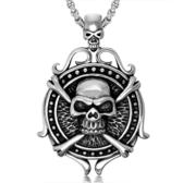 《QBOX 》FASHION 飾品【CSP416】精緻個性霸氣骷髏船舵鑄造鈦鋼墬子項鍊/掛飾