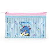 《Sanrio》山姆企鵝透明PVC雙拉鍊扁平筆袋(清涼冰淇淋)★funbox生活用品★_428736