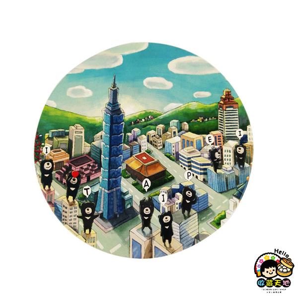【收藏天地】台灣紀念品*神奇的陶瓷吸水杯墊-黑熊台北路線∕馬克杯 送禮 文創 風景 觀光  禮品