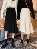 春秋韓版中長款不規則魚尾裙高腰顯瘦chic半身裙女裝