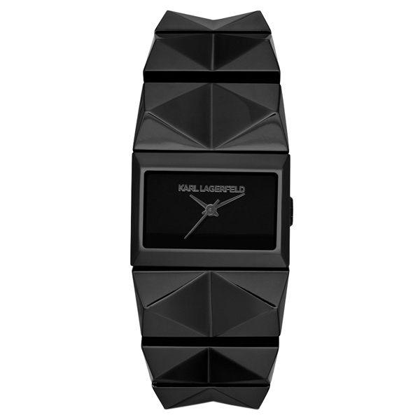KARL LAGERFELD PERSPEKTIVE系列未來風尚設計手環錶-黑