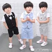 禮服 男童禮服寶寶套裝夏季周歲花童兒童西服英倫紳士小西裝演出服  瑪麗蘇