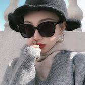 白色韓版墨鏡女街拍時尚新款方框圓臉偏光黑色太陽鏡
