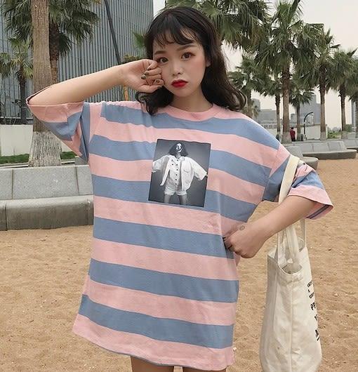 EASON SHOP(GU6248)龐克女孩照片T粗條紋OVERSIZE圓領短袖T恤裙連身裙女上衣服棉T春夏裝韓版寬鬆