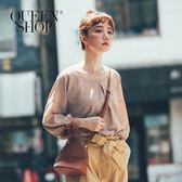 Queen Shop【01095857】撞色格紋袖綁帶上衣 兩色售*預購*