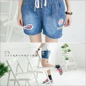 短褲    美式休閒英文字母貼布牛仔短褲   二色-小C館日系