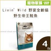 寵物家族-Livin'Wild 野宴全齡貓新鮮無穀配方 - 野生帝王鮭魚4lb-送野宴頑皮逗貓組*1