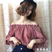 夏裝女裝韓版寬鬆百搭系帶抽繩露肩一字領雪紡衫短袖休閒襯衫上衣 韓風物語