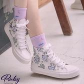 鞋子 兔子蝴蝶手繪中筒帆布鞋-Ruby s 露比午茶