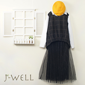 J-WELL 絨面格紋襯衫釘珠雙層網紗裙二件組(組合A547 8J1310黑+9J1039黑)