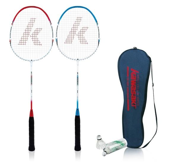 超低價【贈3入羽球】 【宏海體育】 羽球拍 Kawasaki 鋁合金羽拍 KBA830 入門級羽球拍 (2支裝)