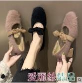 瑪麗珍鞋 網紅毛毛鞋女外穿秋冬新款粗跟高跟壹腳蹬蝴蝶結瑪麗珍鞋 愛麗絲