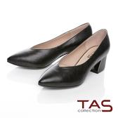 TAS壓紋羊皮尖頭深口高跟鞋-俐落黑