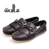 Waltz-「可水洗」MIT 超柔軟流蘇休閒鞋 56009-02(黑)